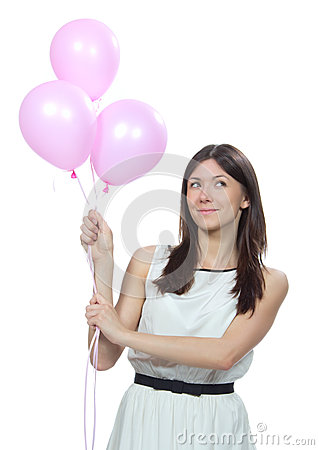 Young happy woman with pink balloons