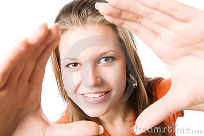 Young happy woman stretching hands to the camera