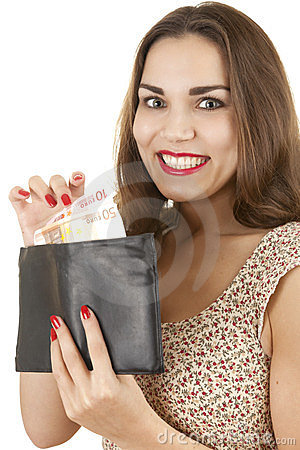 Young happy woman taking euro from wallet