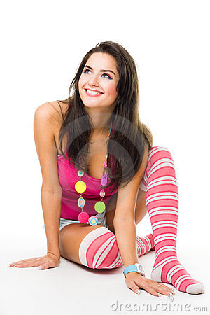 Free Young Happy Woman Widely Smile Look Up Wearing Pin Stock Photos - 10662063