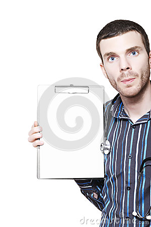 Young Healthcare Professional With Blank Clipboard