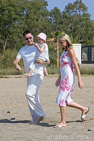 Free Young, Healthy Family Walking Along A Sunny Beach Stock Photo - 226740