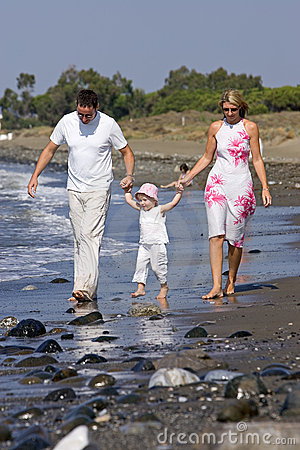 Free Young, Healthy Family Walking Along A Sunny Beach Stock Photography - 226742