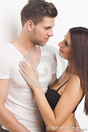 Young heterosexual couple embracing