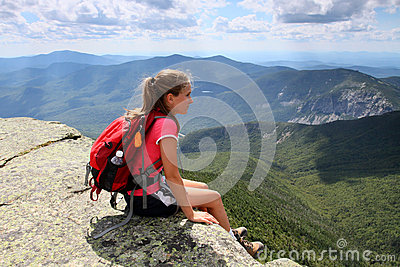 Young hiker on mountain top