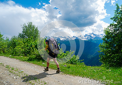 Young hiker trekking in Svaneti