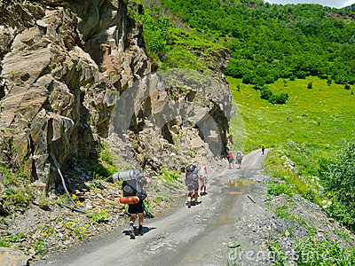 Young hikers trekking in Svaneti,