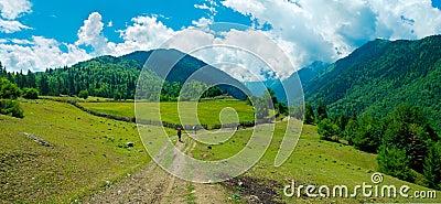Young hikers trekking in Svaneti
