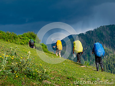 Young hikers trekking in Svaneti,