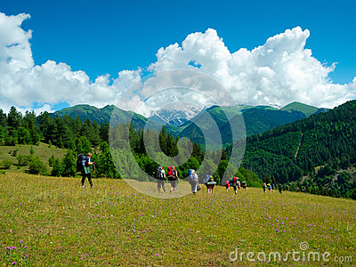 Young hikers trekking in Svaneti