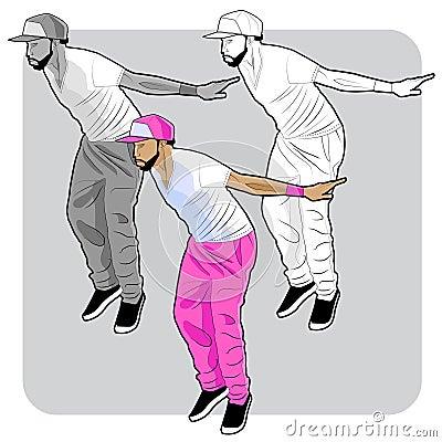 Young hiphop dancer Vector Illustration
