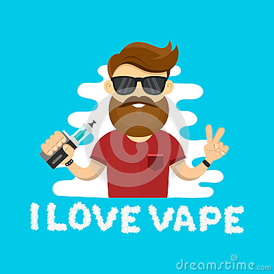 Free Young Hipster Man With Vape. Flat Vector Illustration. Vaping Shop Concept Stock Photo - 78572130