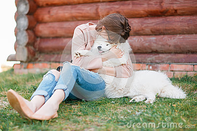 Young Hipster Woman Girl White Kid-skin Dog Ripped Jeans Stock ...