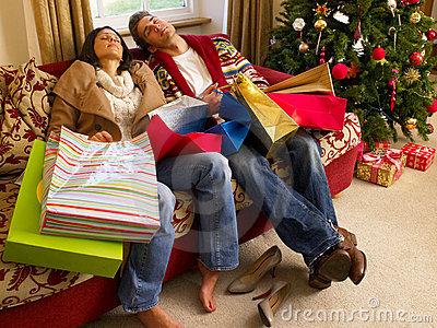 Young Hispanic couple resting