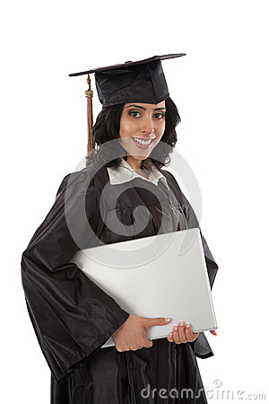 Young Hispanic Graduate Student Holding Laptop