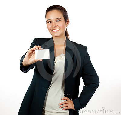 Young Hispanic woman holding a blank business card