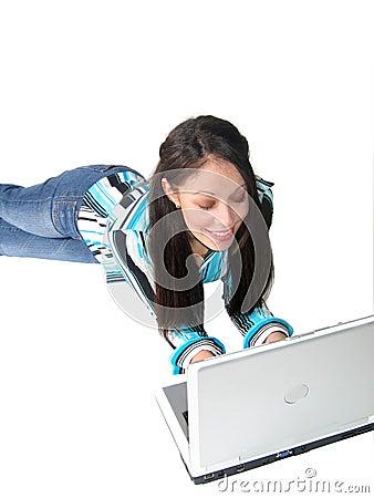 Young Hispanic Woman Laptop