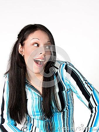 Young Hispanic Woman Surprised