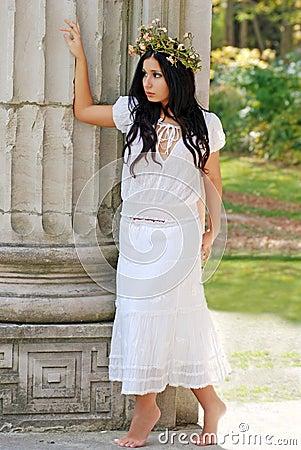 Free Young Hispanic Woman Wearing A Flower Wreath Stock Photos - 6909823