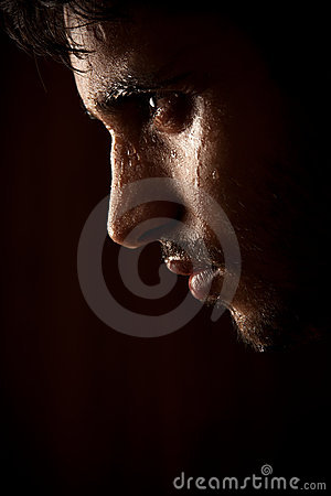 Free Young Indian Angry Man Sweating Over Dark Royalty Free Stock Image - 21053626
