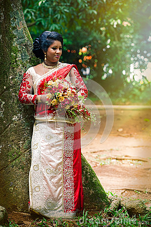 Free Young Indian Bride. Typical Indian Bridal Dress Women Saree Stock Photography - 80061082