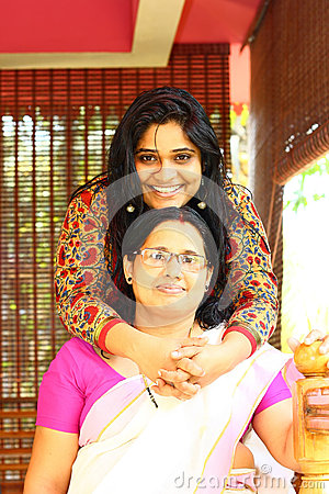 Young Indian Family - Mother and Daughter Hugging