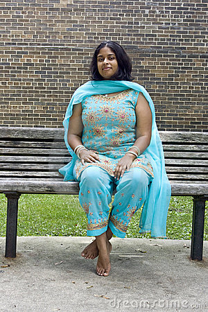 Young Indian Woman on a Bench