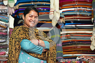 Young indian woman weaver