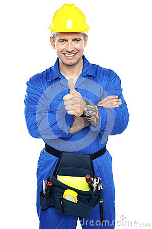 Free Young Industrial Contractor Showing Thumbs Up Stock Photo - 26683740