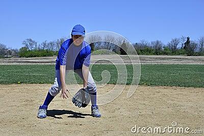 Young infield baseball player