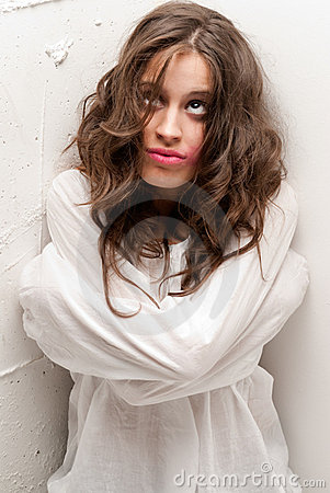 Free Young Insane Woman With Straitjacket Looking Up Stock Photography - 16656992