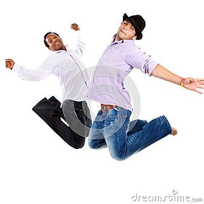 Young interracial teens jumping