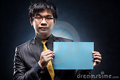 Young japan businessman with blank page