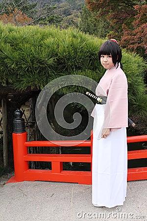 Young japanese cosplayer, samurai Editorial Image