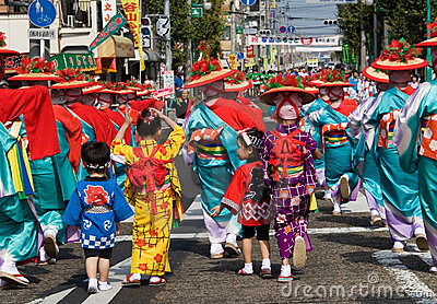 Young Japanese Festival Dancers in Kimono Editorial Photo