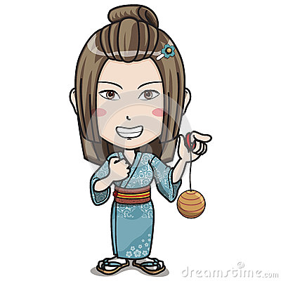 Japanese Female Character in Kimono Suit