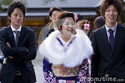 Young Japanese women kimono men suits temple Editorial Stock Photo