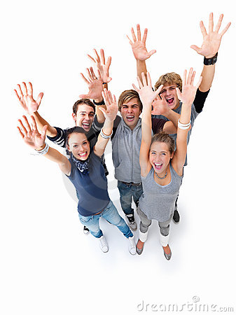 Young joyful teens standing on white background