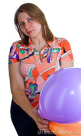 Young joyful woman with balloons