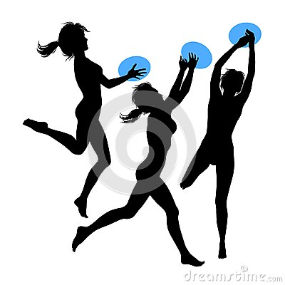 Young jumping girls, silhouette