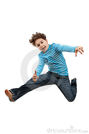 Free Young Jumping Showing OK Sign Royalty Free Stock Images - 9727599