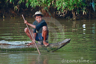 Young khmer boy fishing Editorial Stock Image