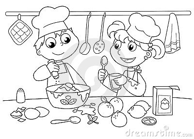 Young kids cooking