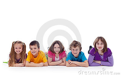 Young kids laying on the floor