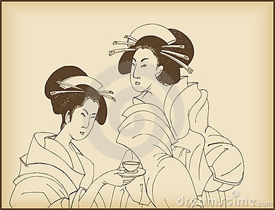 Young ladies drinking tea