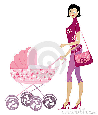 Free Young Lady And Pram Royalty Free Stock Photography - 1246827