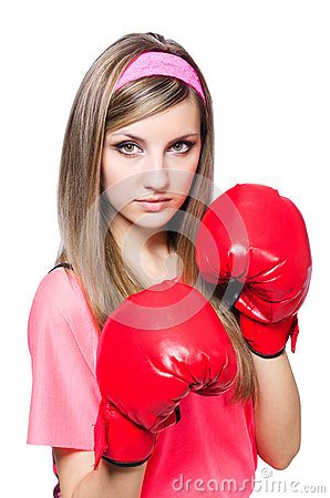 Young lady with boxing gloves