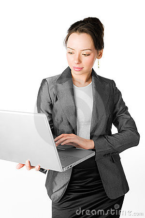 A young lady with a computer on white background