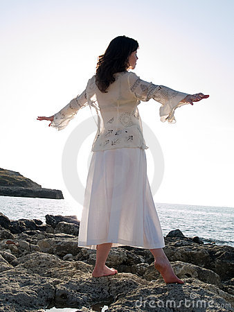 Free Young Lady Dancing On Sea Shore Royalty Free Stock Photo - 5435025