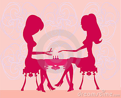 Nail Salon Clip Art Young-lady-doing-manicure- ...